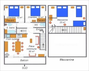 Plan appartement chalet Eterlou